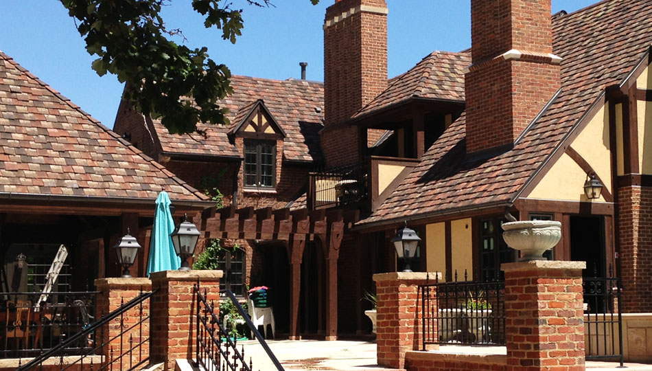 Tudor Home with Tile Roof