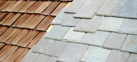 Cedar shake and SlateTec tile roof comparison